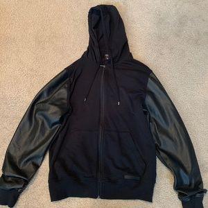 Michael Kors- Black Cotton- Leather Sleeve- Jacket